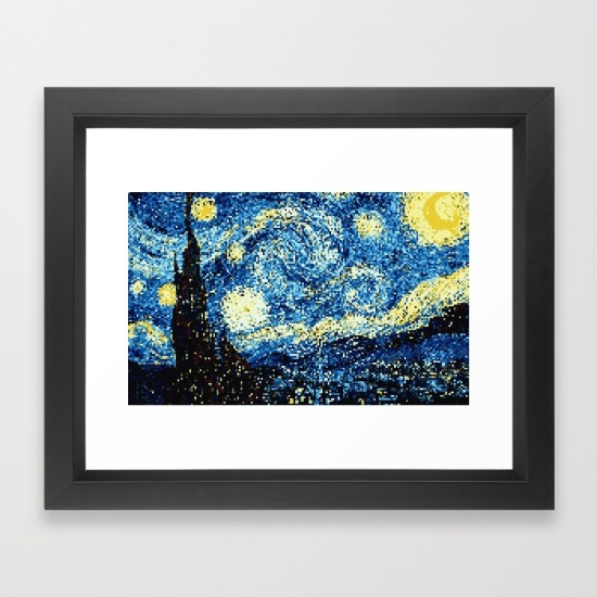 8-bit-stary-night-framed-prints